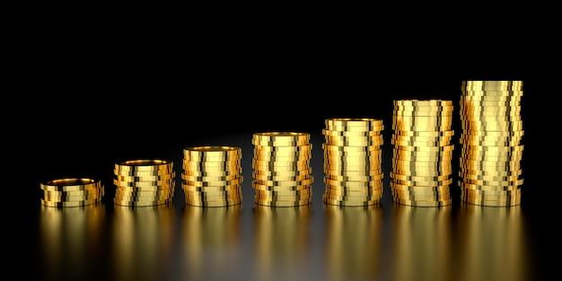 Goldpreis für website-banner. 3d-rendering von goldbarren.