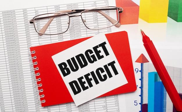 Goldrandbrille, ein roter stift, farbtabellen und ein rotes notizbuch mit einer weißen karte mit dem text budget deficit auf dem desktop. geschäftskonzept. von oben betrachten