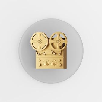 Goldspulen-kassettenrekorder-symbol. grauer runder schlüsselknopf des 3d-renderings, schnittstelle ui ux element.