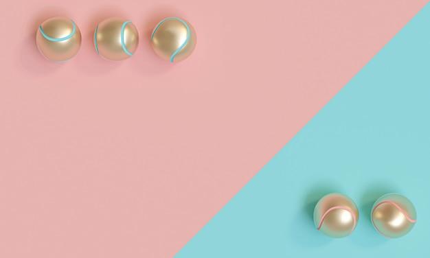 Goldtennisbälle auf einem blauen und rosa hintergrund