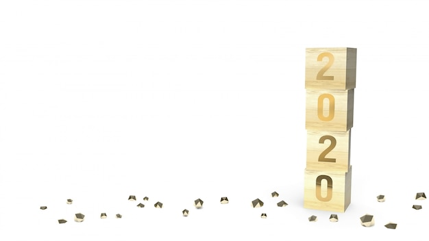Goldzahl 2020 auf hölzernem würfel