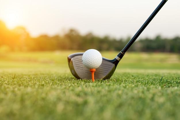 Golfclub und ball im gras mit sonnenlicht. schließen sie oben am golfclub und am golfball.