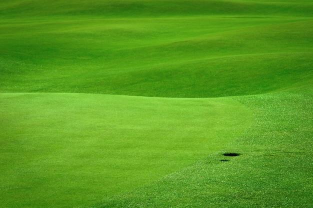 Golffeld mit einem kugelloch