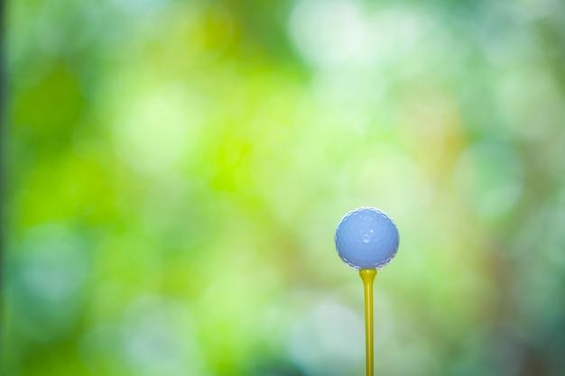 Golfsportkonzept, golfball auf t-stück auf unscharfer grüner natur des golfplatzes
