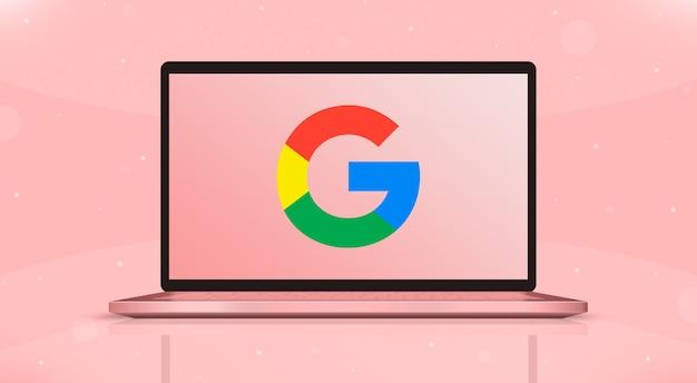Google icons logo auf laptop-bildschirm vorderansicht 3d