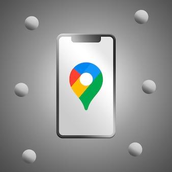 Google maps-logo auf realistischem telefonbildschirm