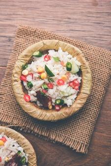 Gopalkala oder dahi kala ist ein prashad, der lord krishna auf janmashtami oder gokulashtami angeboten wird. hergestellt aus geschlagenem reis, quark, milch, zucker, granatapfel, chili, gurke und koriander