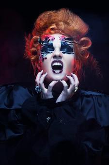 Gotische hexe. dunkle frau. halloween-bild.