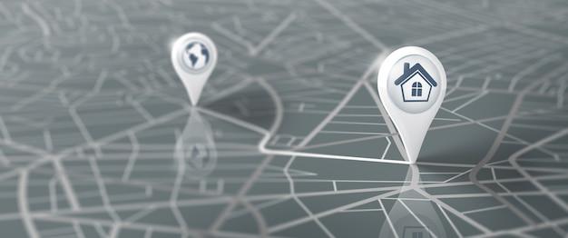 Gps-navigations-straßenkarte mit pin-symbol logistische geographie transport reisen und navigation