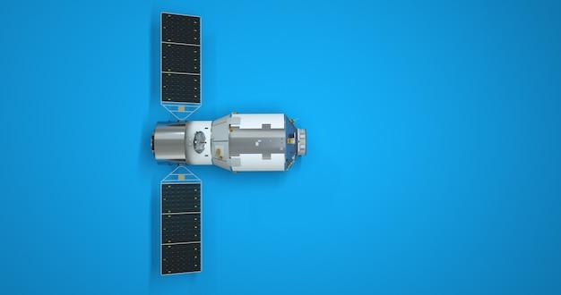 Gps-satellit lokalisiert auf blauem hintergrund, grafikdesignelement. 3d illustration eines erdsatelliten, navigation.
