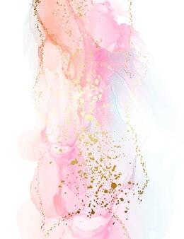 Gradient rosa orange hintergrund mit goldfolienspritzer
