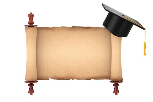 Graduation academic cap über blank old paper scroll pergament mockup auf weißem hintergrund. 3d-rendering