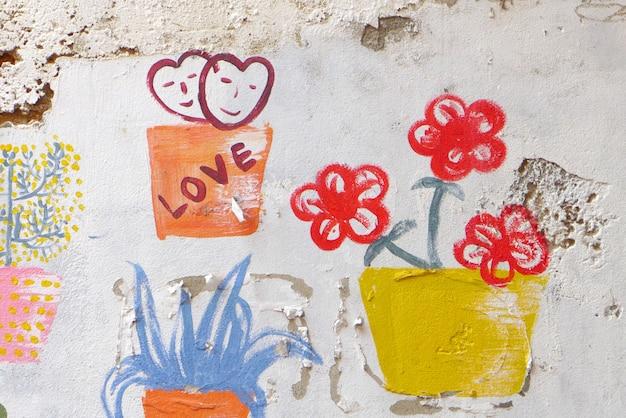 Graffiti auf der wand gefangen genommen, bangkok thailand