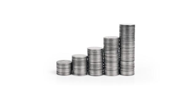 Grafik börse. stapel von münzen auf stapeln. investitions- und sparkonzept Premium Fotos
