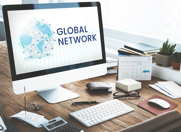 Grafik-overlay der netzwerkverbindung auf dem computer