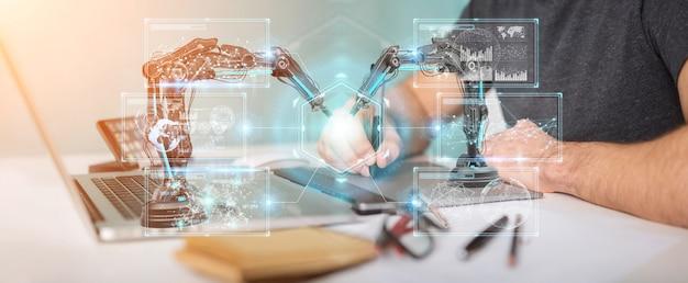 Grafikdesigner, der roboterarme mit digitalem schirm verwendet