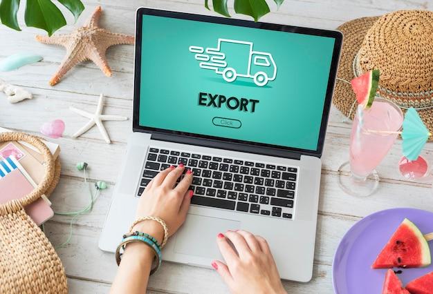 Grafikkonzept import export sendung lkw