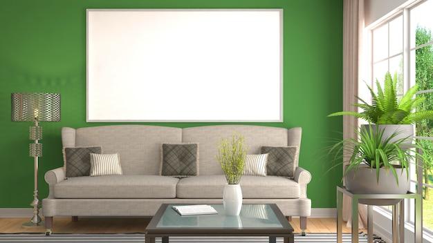 Grafikrahmen im inneren wohnzimmer