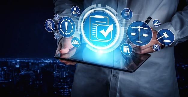 Grafische benutzeroberfläche für compliance-regeln und -vorschriften für die unternehmensqualitätspolitik