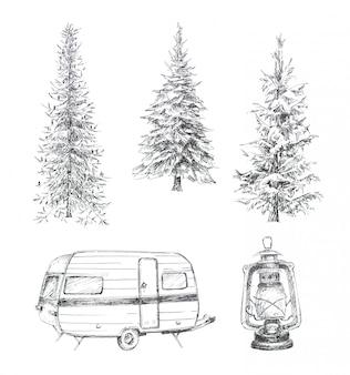 Grafische handgemalte waldbäume, kampierender packwagen und weinleselaterne clipart satz lokalisiert. gezeichneter designsatz der themenorientierten hand der reise.