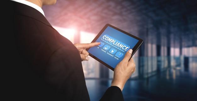 Grafische schnittstelle für compliance-regeln und -vorschriften für die geschäftsqualitätspolitik