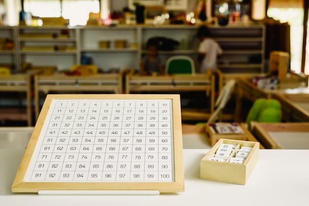 Grafische tafeln zum erlernen der mathematik in einer montessori-schule für alternative bildung.
