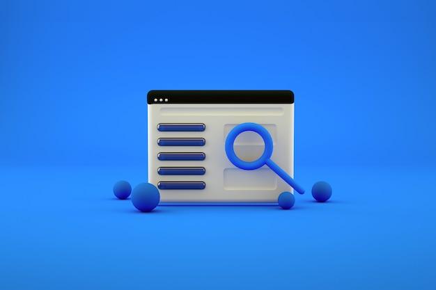 Grafisches 3d-kalender- oder segelflugzeug-symbol mit einer lupe auf blauem, isoliertem hintergrund. segelflugzeug, kalender im hintergrund mit einer lupe. 3d-grafik