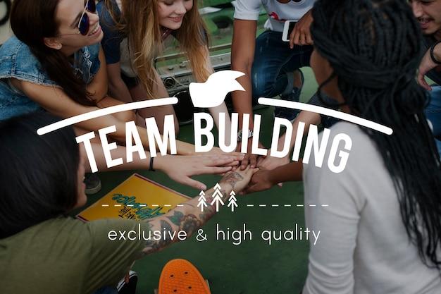 Grafisches wort des teamwork-zusammenarbeits-teams