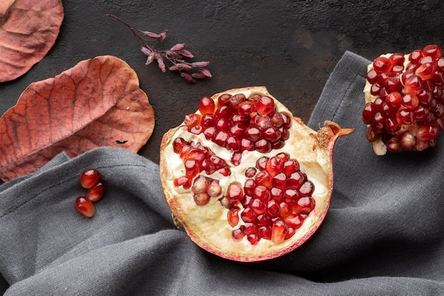 Granatapfel-herbstfrucht von oben