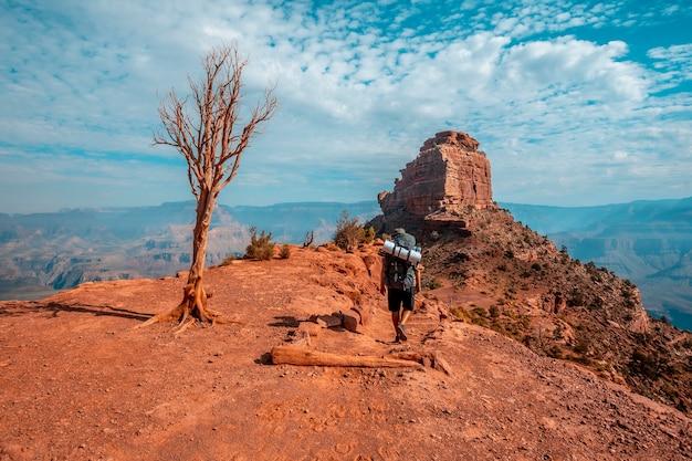 Grand canyon, arizona vereinigte staaten august 2019 south kaibab trailhead, ein junger mann, der mit dem rucksack beladen ist, der auf dem trekking absteigt.