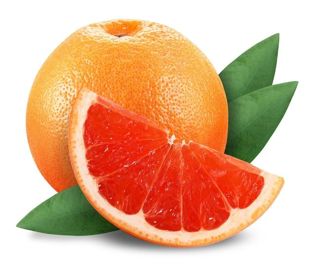 Grapefruit mit scheibe und blatt auf weiß