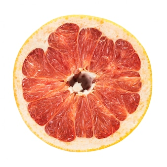 Grapefruit rubin draufsicht haftscheibe lokalisiert auf weiß