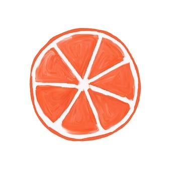 Grapefruitscheibe lackierte gouache, kann für das lernen von kindern verwendet werden, isoliert.