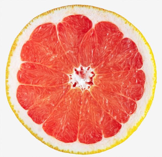 Grapefruitscheibe lokalisiert auf weiß. frisch geschnittene rote grapefruit.