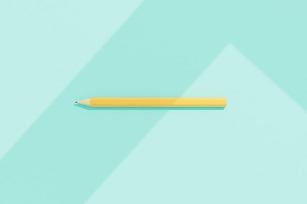 Graphitgelber bleistift auf mintfarbenem hintergrund mit geometrischen schatten, 3d-rendering