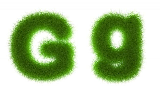 Gras-alphabet eco guss lokalisiert auf weißer wiedergabe des hintergrundes 3d
