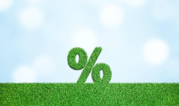 Gras mit prozentzeichen symbol geschäftsentwicklung zum erfolg wachsendes wachstumskonzept