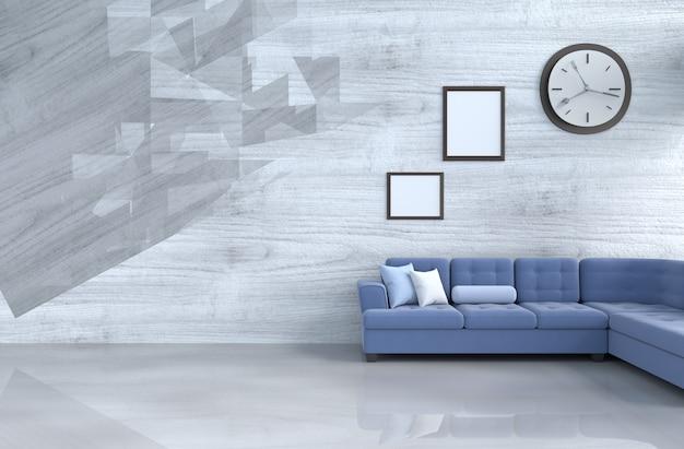 Grau-weißer wohnzimmerdekor mit blauem sofa, wanduhr, hölzerner wand, bilderrahmen.