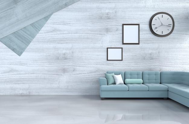 Grau-weißer wohnzimmerdekor mit grünem sofa, wanduhr, weißer hölzerner wand, bilderrahmen. 3