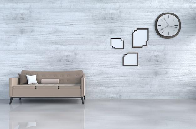 Grau-weißes wohnzimmer mit braunem sofa, wanduhr, weißer holzwand, kissen, bilderrahmen. 3