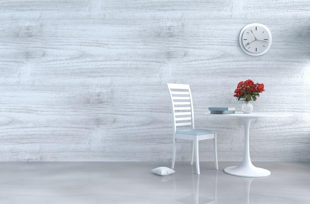 Grau-weißes wohnzimmer mit weißem stuhl, wanduhr, weißer hölzerner wand, rote rose. 3d übertragen