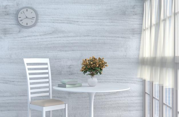 Grau-weißes wohnzimmerdekor mit cremeweißem stuhl, wanduhr, holzwand, rote rose. 3d ren