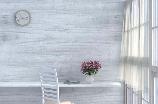 Grau-weißes wohnzimmerdekor mit cremeweißem stuhl, wanduhr, weiße holzwand, rose. 3d