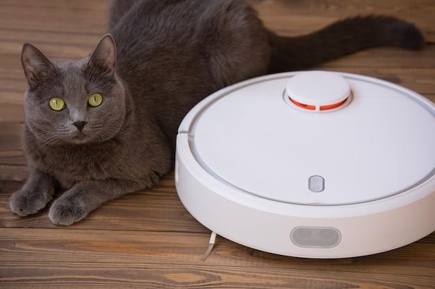 Graue flauschige katze liegt neben dem roboter mit einem staubsauger auf einem holzboden