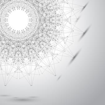 Graue grafische hintergrundillustrationspunkte mit verbindungen für ihr design
