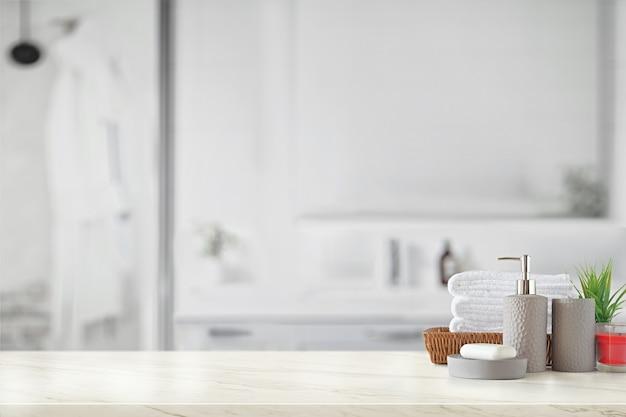 Graue keramikflasche mit weißen baumwollhandtüchern im korb
