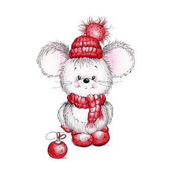 Graue maus, in einer roten kappe, einem schal und stiefeln, die in aquarell auf weiß gemalt werden