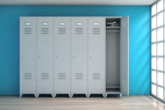 Graue metallschließfächer vor blauer wand. 3d-rendering