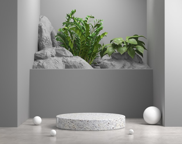 Graue szene des 3d-render-modellgeometrie-podiums mit natürlicher pflanzen- und felsenhintergrundillustration