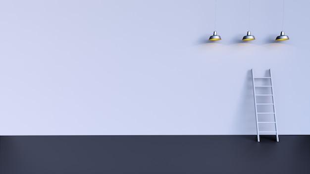 Graue treppe auf grauem hintergrund mit drei lichtern